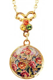 Michal Negrin Antique Roses Cameo Gold Plated Necklace