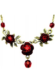Michal Negrin Red Triple Rose Necklace