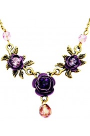 Michal Negrin Purple Triple Rose Necklace