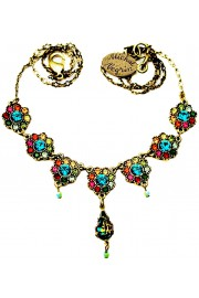 Michal Negrin Multicolor Crystal Flowers Necklace