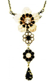Michal Negrin Black Peach Flower Necklace