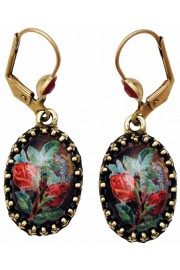 Michal Negrin Rosebud Cabochon Cameo Earrings
