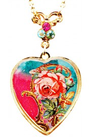 Michal Negrin Gold Plated Rose Heart Necklace