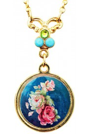 Michal Negrin Blue Roses Cameo Gold Plated Necklace