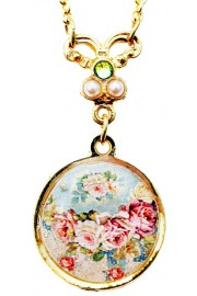 Michal Negrin Baroque Roses Cameo Gold Plated Necklace