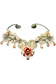 Michal Negrin Pearl Peach Rose Garden Necklace