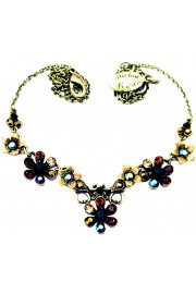 Michal Negrin Black Garnet Bronze Flowers Necklace