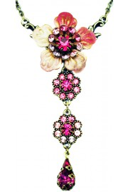 Michal Negrin Pink Swirl Flower Necklace