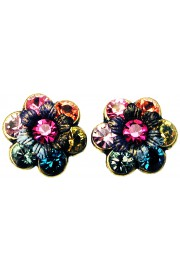 Michal Negrin Multicolor Tiedye Crystal Flower Stud Earrings