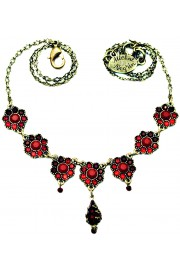 Michal Negrin Red Drops Flower Necklace