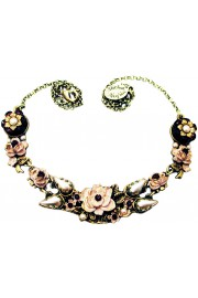 Michal Negrin Pearl Garnet New York Roses Necklace