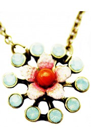 Michal Negrin Mint Green Coral Starburst Pendant Necklace