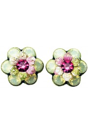 Michal Negrin Cream Pink Green Tiedye Crystal Flower Stud Earrings