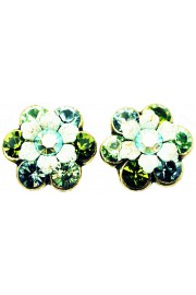 Michal Negrin Green Swirl Crystal Flower Stud Earrings