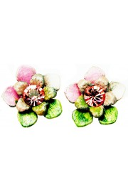 Michal Negrin Pink Green Tiedye Flower Stud Earrings