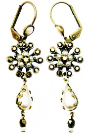 Michal Negrin Pearl Bronze Starburst Earrings