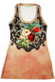 Michal Negrin Antique Roses Pink Tank Top