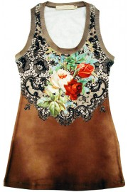 Michal Negrin Antique Roses Tank Top
