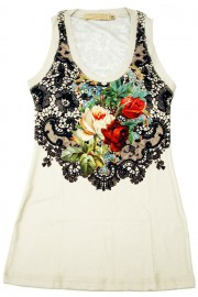 Michal Negrin Antique Roses Off White Tank Top