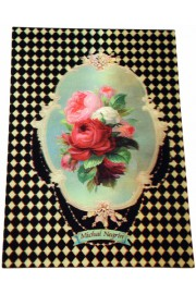 Michal Negrin Checkers Roses Lenticular Postcard
