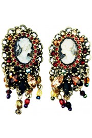 Michal Negrin Victorian Cameo Crystal Clip Earrings