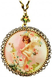 Michal Negrin Pink Cherub Locket Necklace
