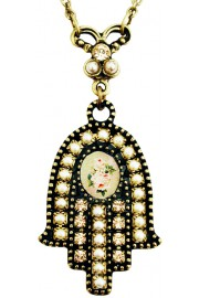 Michal Negrin Pearl Rose Cameo Hamsa Necklace