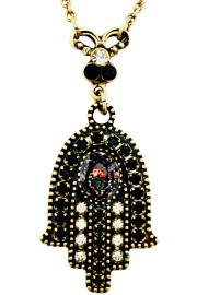 Michal Negrin Black Roses Cameo Hamsa Necklace