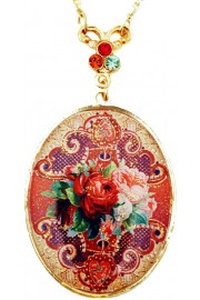 Michal Negrin Spanish Roses Medallion Necklace