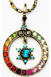 Michal Negrin Multicolor Star Of David Circle Necklace