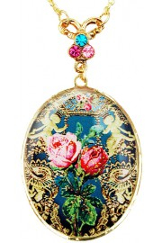 Michal Negrin Antique Roses Medallion Necklace