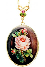 Michal Negrin Vintage Rose Medallion Necklace