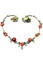 Michal Negrin Pink Flowers Crystals Necklace