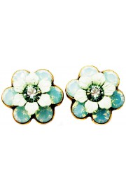Michal Negrin Sea Green Crystal Flower Stud Earrings