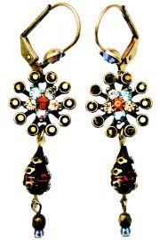 Michal Negrin Bronze Aqua Peach Starburst Earrings