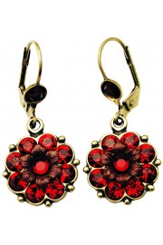 Michal Negrin Red Crystals Flower Earrings