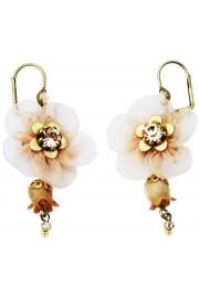 Michal Negrin Peach Fabric Flower Earrings