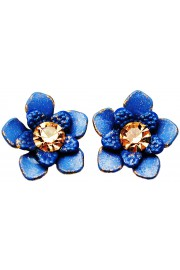Michal Negrin Blue Gold Flower Stud Earrings