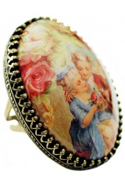 Michal Negrin Baroque Love Cabochon Cameo Ring