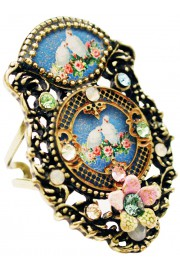 Michal Negrin Double Cameo Doves Ring