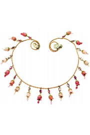Michal Negrin Pink Lilac Fuchsia Bells Necklace