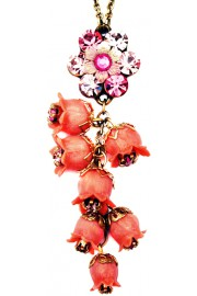 Michal Negrin Pink Bells Drop Necklace