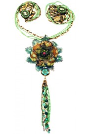 Michal Negrin Green Bohemian Pendant Necklace