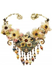 Michal Negrin Lace Flowers Bell Beads Necklace