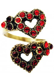 Michal Negrin Red Hearts Spiral Ring