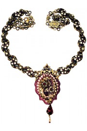 Michal Negrin Garnet Peach Antique Locket Necklace