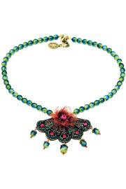 Michal Negrin Green Fuchsia Deco Necklace