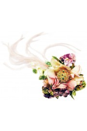 Michal Negrin Vintage Flower Feathers Brooch