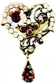 Michal Negrin Peach Garnet Heart Brooch