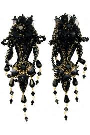 Michal Negrin Black Lace Drama Clip Earrings